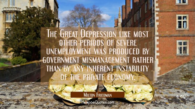 The Great Depression like most other periods of severe unemployment was produced by government mism