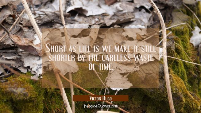 Short as life is we make it still shorter by the careless waste of time.