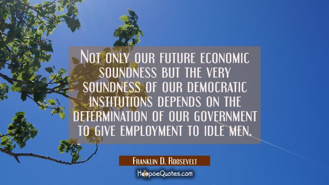 Not only our future economic soundness but the very soundness of our democratic institutions depend