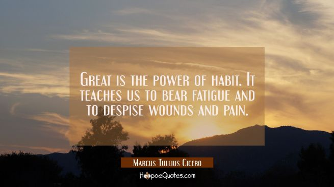 Great is the power of habit. It teaches us to bear fatigue and to despise wounds and pain.
