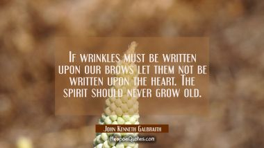 If wrinkles must be written upon our brows let them not be written upon the heart. The spirit shoul