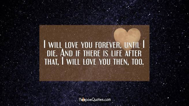 I will love you forever, until I die. And if there is life after that, I will love you then, too.