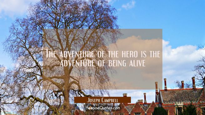 The adventure of the hero is the adventure of being alive