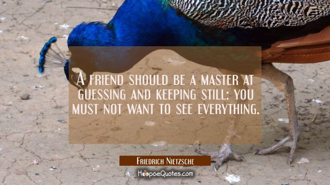 A friend should be a master at guessing and keeping still: you must not want to see everything.