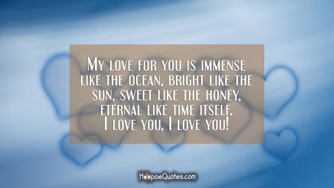 My love for you is immense like the ocean, bright like the sun, sweet like the honey, eternal like time itself. I love you, I love you!