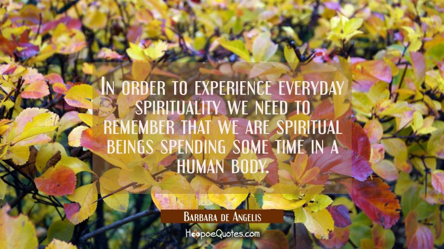 In order to experience everyday spirituality we need to remember that we are spiritual beings spend Barbara de Angelis Quotes