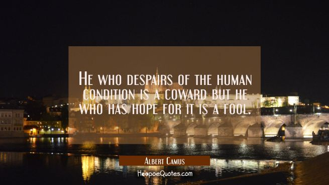 He who despairs of the human condition is a coward but he who has hope for it is a fool.