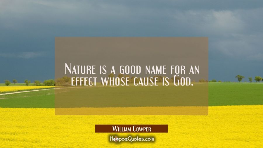 Nature is a good name for an effect whose cause is God. William Cowper Quotes