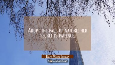 Adopt the pace of nature: her secret is patience. Ralph Waldo Emerson Quotes