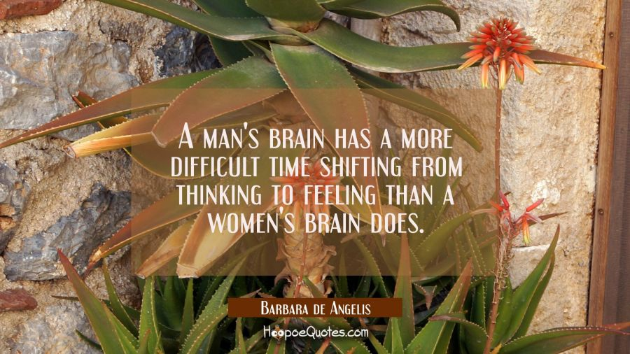 A man's brain has a more difficult time shifting from thinking to feeling than a women's brain does Barbara de Angelis Quotes