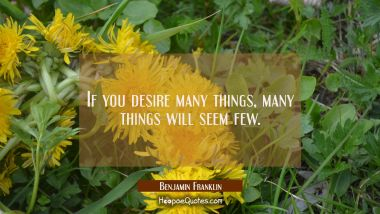 If you desire many things many things will seem few. Benjamin Franklin Quotes
