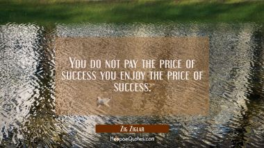 You do not pay the price of success you enjoy the price of success.