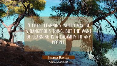 A little learning indeed may be a dangerous thing but the want of learning is a calamity to any peo