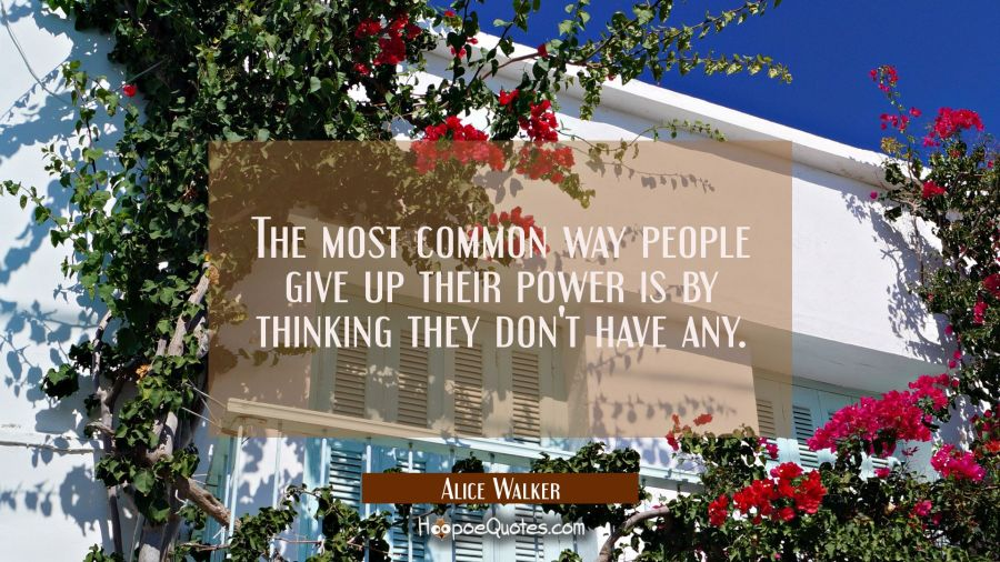 The most common way people give up their power is by thinking they don't have any. Alice Walker Quotes