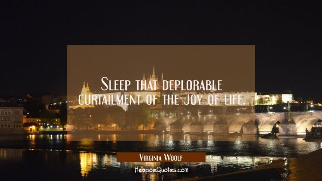 Sleep that deplorable curtailment of the joy of life.
