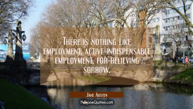 There is nothing like employment active indispensable employment for relieving sorrow.