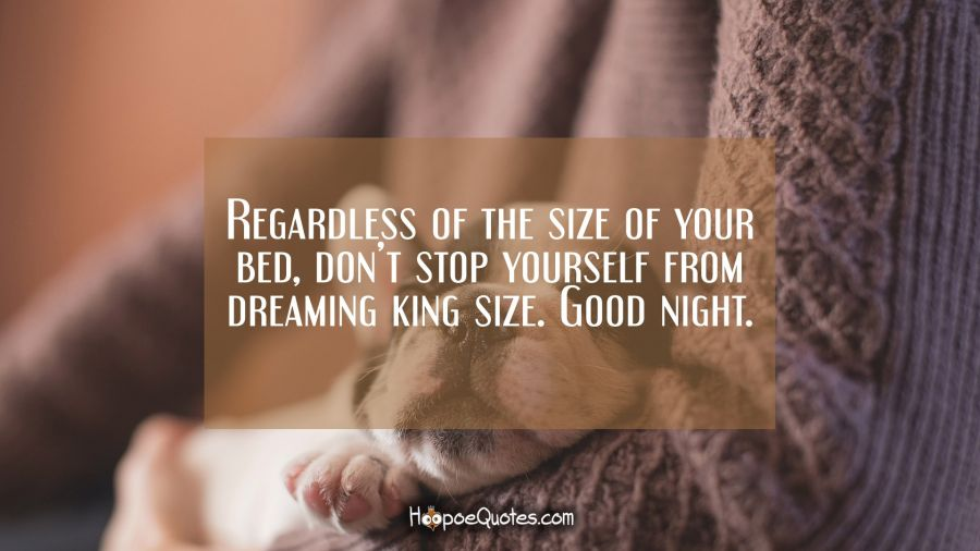 Regardless of the size of your bed, don't stop yourself from dreaming king size. Good night. Good Night Quotes