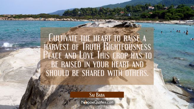 Cultivate the heart to raise a harvest of Truth Righteousness Peace and Love This crop has to be ra