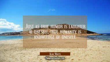 Just as true humor is laughter at oneself, true humanity is knowledge of oneself.
