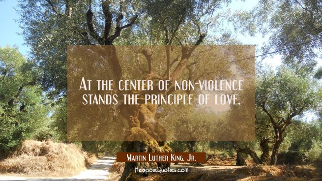 At the center of non-violence stands the principle of love.