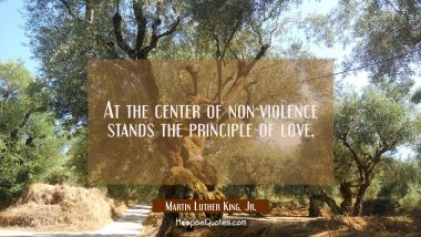 At the center of non-violence stands the principle of love. Martin Luther King, Jr. Quotes