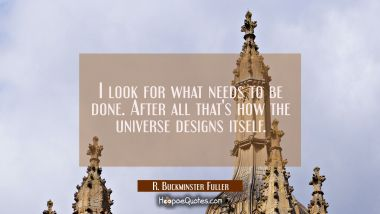 I look for what needs to be done. After all that's how the universe designs itself. R. Buckminster Fuller Quotes