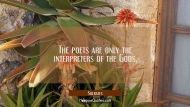 The poets are only the interpreters of the Gods.