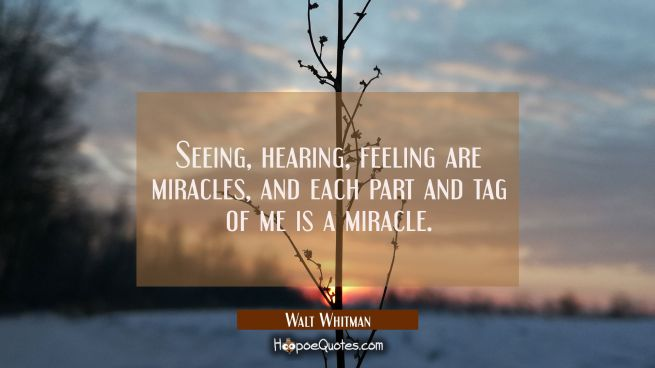 Seeing hearing feeling are miracles and each part and tag of me is a miracle.