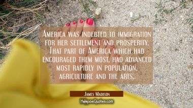 America was indebted to immigration for her settlement and prosperity. That part of America which h James Madison Quotes