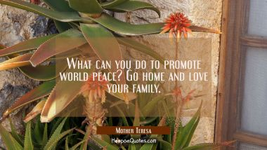 What can you do to promote world peace? Go home and love your family Mother Teresa Quotes