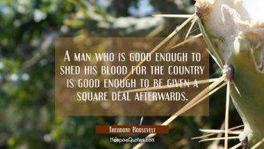 A man who is good enough to shed his blood for the country is good enough to be given a square deal Theodore Roosevelt Quotes