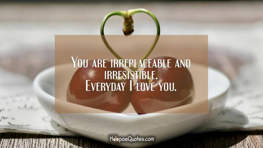 You are irreplaceable and irresistible. Everyday I love you. I Love You Quotes