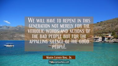 We will have to repent in this generation not merely for the vitriolic words and actions of the bad