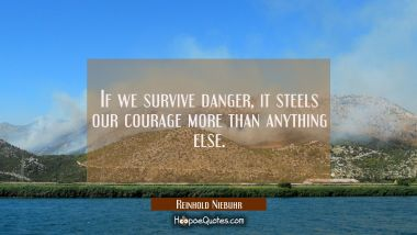 If we survive danger it steels our courage more than anything else. Reinhold Niebuhr Quotes