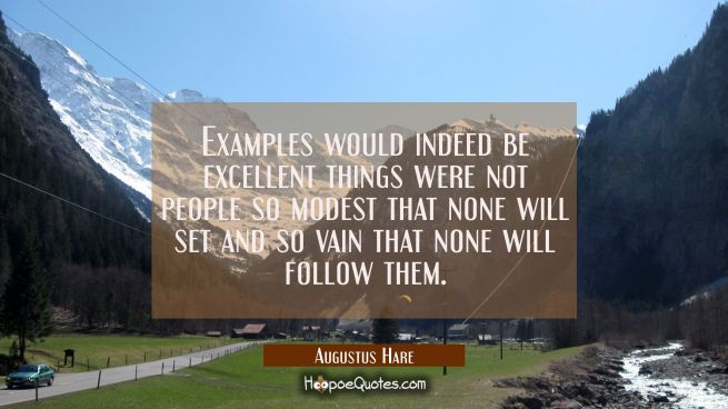 Examples would indeed be excellent things were not people so modest that none will set and so vain