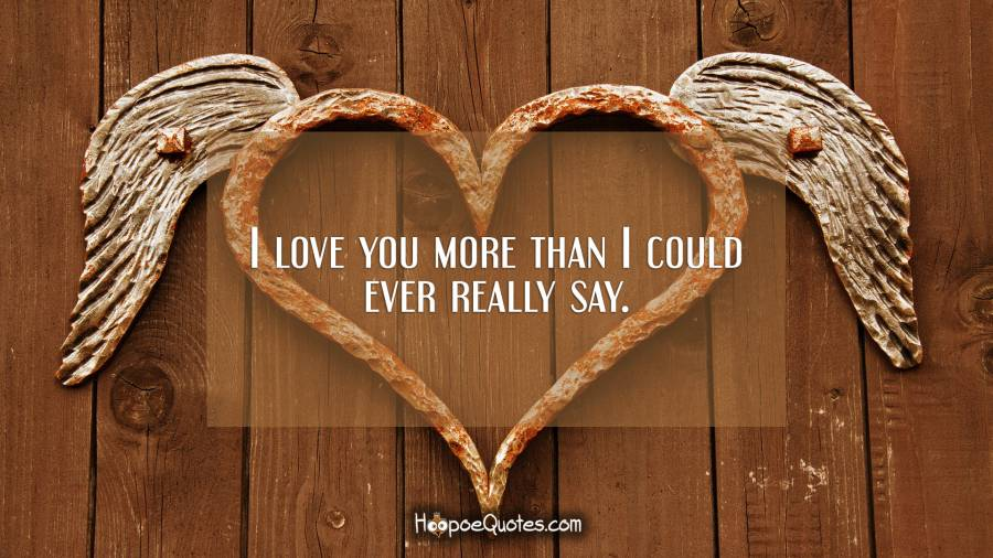 I love you more than I could ever really say. I Love You Quotes