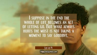 I suppose in the end the whole of life becomes an act of letting go. But what always hurts the most is not taking a moment to say goodbye. Quotes