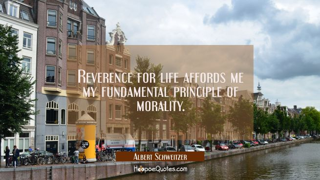 Reverence for life affords me my fundamental principle of morality.
