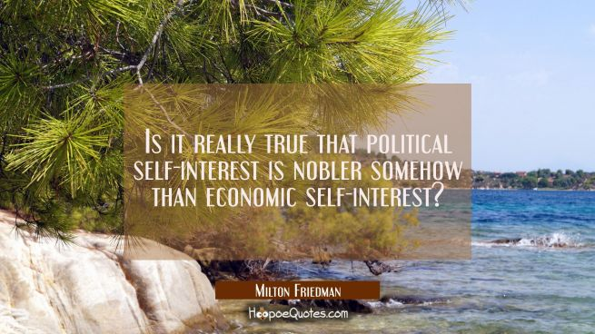 Is it really true that political self-interest is nobler somehow than economic self-interest?