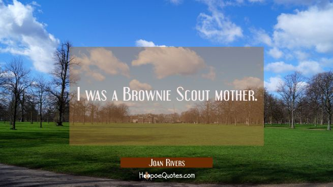 I was a Brownie Scout mother.