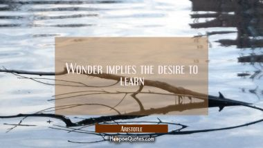 Wonder implies the desire to learn Aristotle Quotes