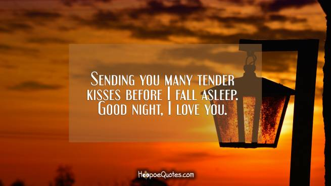 Sending you many tender kisses before I fall asleep. Good night, I love you.