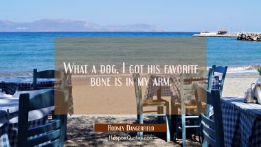 What a dog I got his favorite bone is in my arm. Rodney Dangerfield Quotes