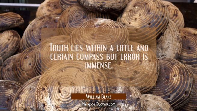 Truth lies within a little and certain compass but error is immense.