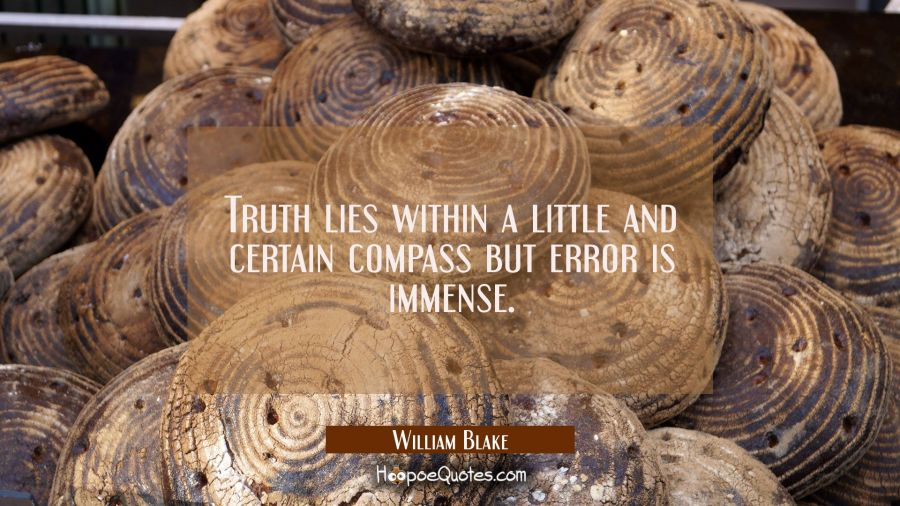Truth lies within a little and certain compass but error is immense. William Blake Quotes