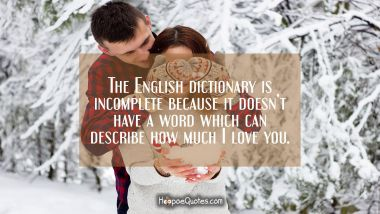 The English dictionary is incomplete because it doesn't have a word which can describe how much I love you. I Love You Quotes