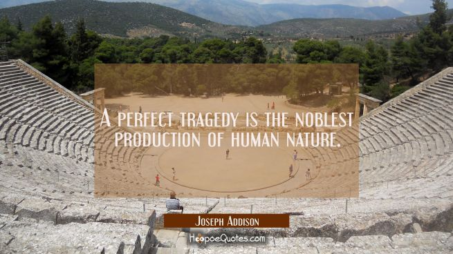A perfect tragedy is the noblest production of human nature.