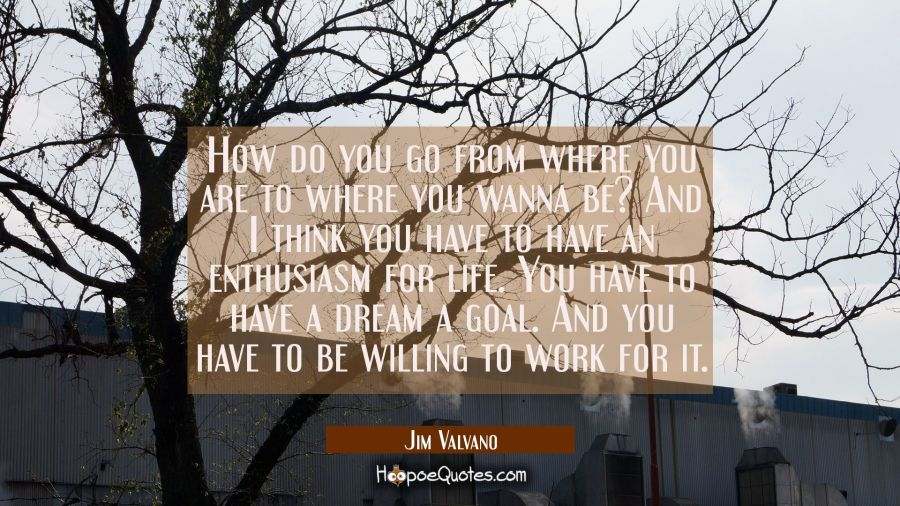How do you go from where you are to where you wanna be? And I think you have to have an enthusiasm Jim Valvano Quotes