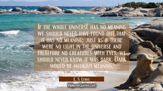 If the whole universe has no meaning we should never have found out that it has no meaning: just as