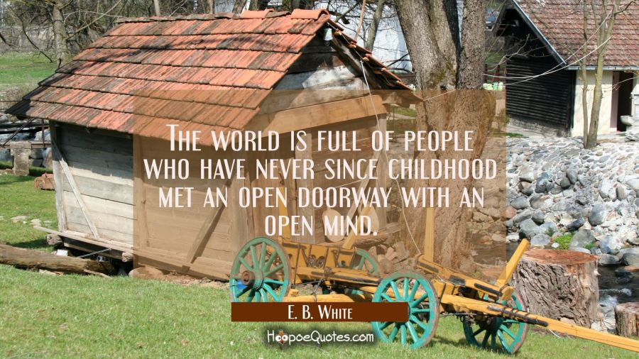 The world is full of people who have never since childhood met an open doorway with an open mind. E. B. White Quotes